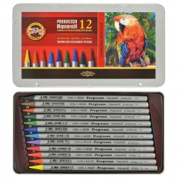 Koh-i-noor - Koh-i-Noor Progresso Aquarell Woodless Coloured Pencil Set 12`li
